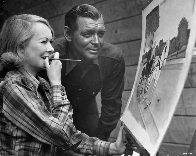 Gable Admires Wife